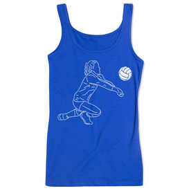 Volleyball Women's Athletic Tank Top - Volleyball Girl Player Sketch