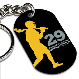 Lacrosse Printed Dog Tag Keychain Personalized Laxer Guy