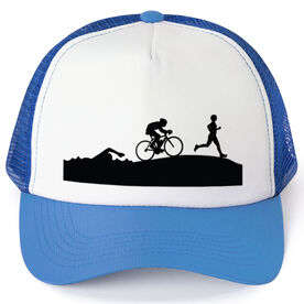Triathlon Trucker Hat Swim Bike Run Silhouettes