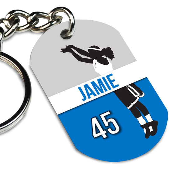 Basketball Printed Dog Tag Keychain Personalized Basketball Girl Name and Number