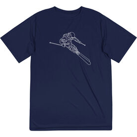 Skiing Short Sleeve Performance Tee - Skier Sketch