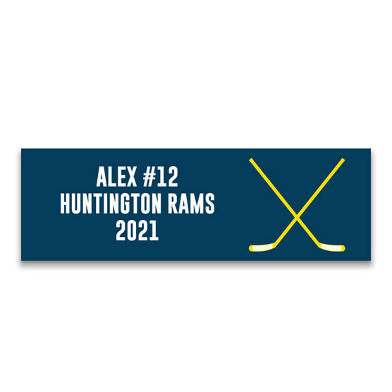 "Hockey 12.5"" X 4"" Removable Wall Tile - Personalized Team"
