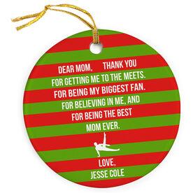 Gymnastics Porcelain Ornament - Dear Mom Heart (Guy Gymnast)