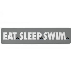 "Swimming Aluminum Room Sign - Eat Sleep Swimming (4""x18"")"