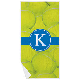 Tennis Premium Beach Towel - Personalized Ball Background with Monogram