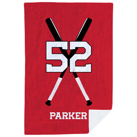 Baseball Premium Blanket - Personalized Player with Crossed Bats