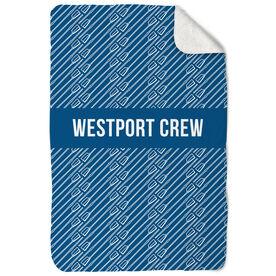 Crew Sherpa Fleece Blanket Personalized Oar Pattern