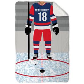 Hockey Sherpa Fleece Blanket - Hockey Player
