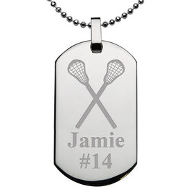 Lacrosse Engraved Stainless Steel Dog Tag Necklace