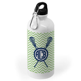 Girls Lacrosse 20 oz. Stainless Steel Water Bottle - Monogrammed Chevron Pattern With Crossed Sticks