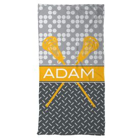 Lacrosse Beach Towel Personalized 2 Tier Patterns with Crossed Sticks