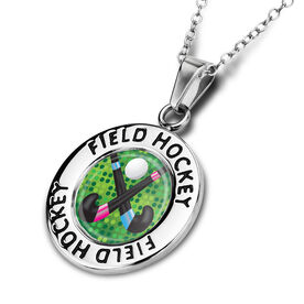 Field Hockey Circle Necklace Field Hockey Stick Battle Graphic