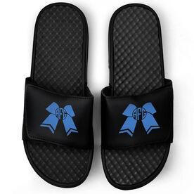 Cheerleading Black Slide Sandals - Cheer Bow Monogram