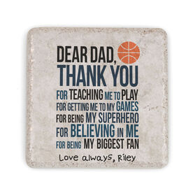 Basketball Stone Coaster - Dear Dad (Autograph)
