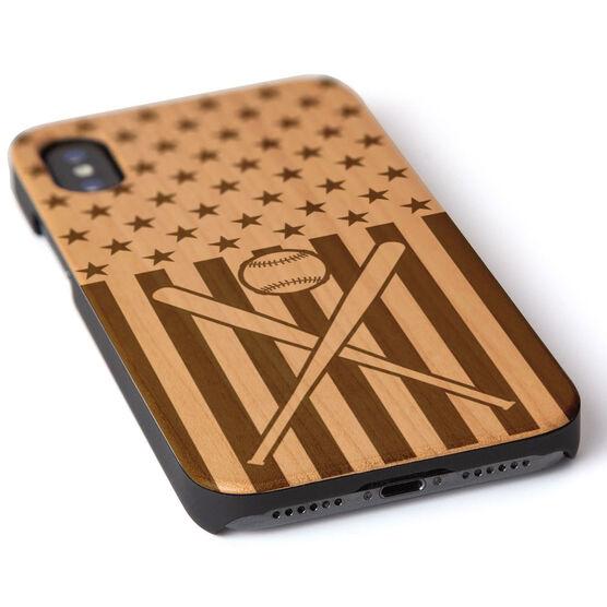 Softball Engraved Wood IPhone® Case - USA Softball
