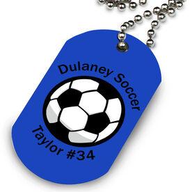 Custom Soccer Ball Printed Dog Tag Necklace