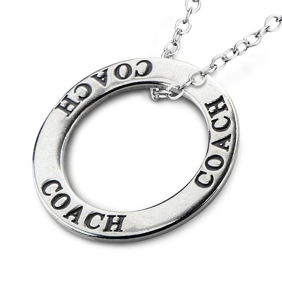 Coach Message Ring Pendant Necklace