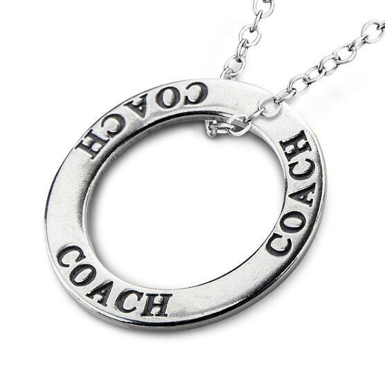 Coach Message Ring Pendant Necklace
