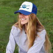 Hockey Trucker Hat Crossed Sticks Your Number