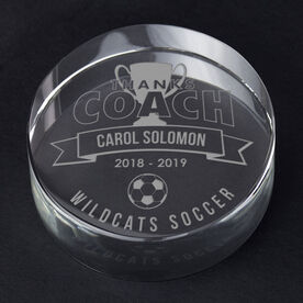 Soccer Personalized Engraved Crystal Gift - Thanks Coach Banner