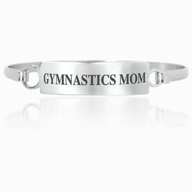 Gymnastics Engraved Clasp Bracelet - Mom (Text)