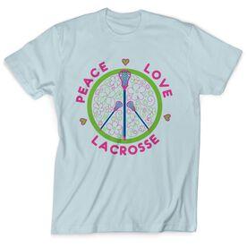 Lacrosse Tshirt Short Sleeve Peace Love Lacrosse Flowers