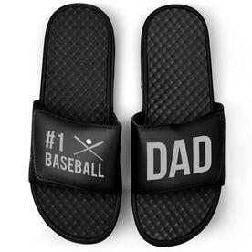 Baseball Black Slide Sandals - #1 Baseball Dad