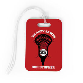Guys Lacrosse Bag/Luggage Tag - Custom Team Stick Head
