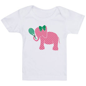 Tennis Baby T-Shirt - Tennis Elephant with Bow