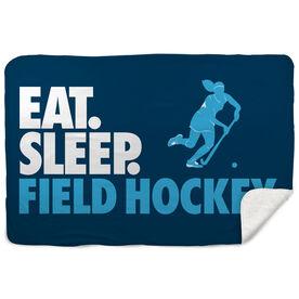Field Hockey Sherpa Fleece Blanket - Eat. Sleep. Field Hockey. Horizontal