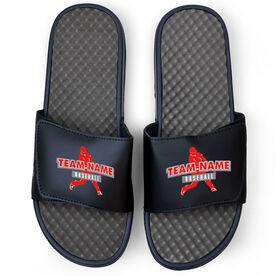Baseball Navy Slide Sandals - Your Team Name