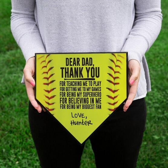 Softball Home Plate Plaque - Dear Dad