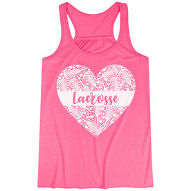 Girls Lacrosse Flowy Racerback Tank Top - Lacrosse Heart