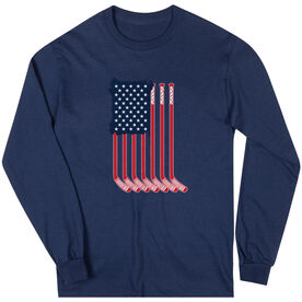 Hockey Long Sleeve T-Shirt - American Flag