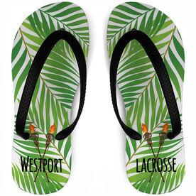 Girls Lacrosse Flip Flops Tropical Custom Team Name