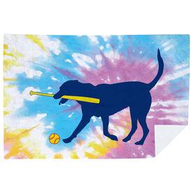 Softball Premium Blanket - Mitts the Softball Dog Tie-Dye