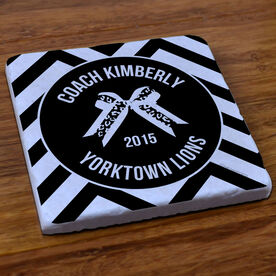 Cheerleading Stone Coaster Personalized Thanks Coach with Bow