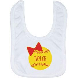 Softball Baby Bib - Personalized Softball Bow