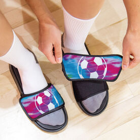 Soccer Repwell® Slide Sandals - Tie-Dye Pattern With Soccer Ball