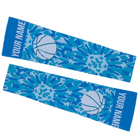 Basketball Printed Arm Sleeves - Personalized Tie Dye Floral Pattern with Basketball