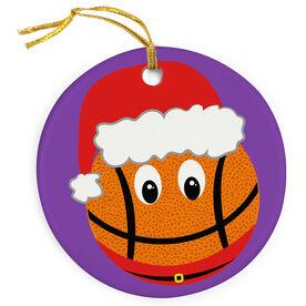 Basketball Porcelain Ornament Smiley Face Santa