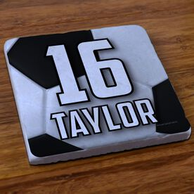 Soccer Stone Coaster Personalized Big Number with Soccer Ball