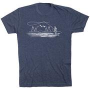Fly Fishing Short Sleeve T-Shirt - Fly Fishing Sketch