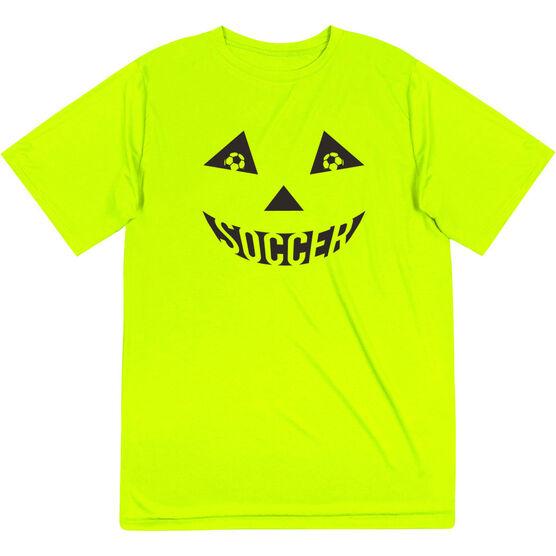 Soccer Short Sleeve Performance Tee - Soccer Pumpkin Face