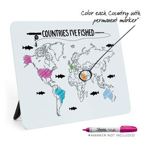 Fly Fishing Desk Art - Countries I've Fished Outline