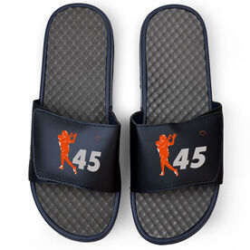 Football Navy Slide Sandals - Silhouette with Number