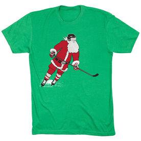 Hockey T-Shirt Short Sleeve Slap Shot Santa