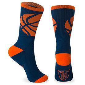 Basketball Woven Mid-Calf Socks - Ball Wrap (Navy/Neon Orange)