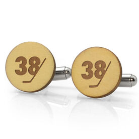 Hockey Engraved Wood Cufflinks Stick Number Slice