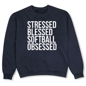Softball Crew Neck Sweatshirt - Stressed Blessed Softball Obsessed